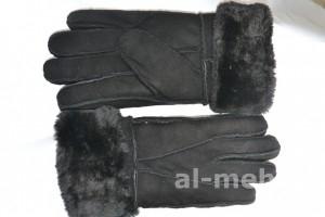 Теплые меховые перчатки мужские из натуральной дубленочной овчины