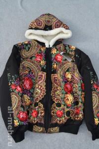 6. Куртка женская из овечьей шерсти - платок черный цена 2800