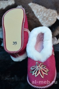 Теплые меховые тапочки Бабуши из овчины, на мягкой подошве с пяткой