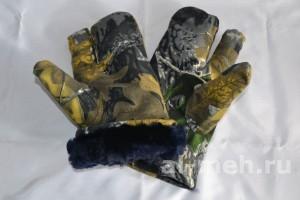 Рукавица двух-палая для охотников и силовых структур ( Ткань Мембрана Алова - цвет Серый лес)