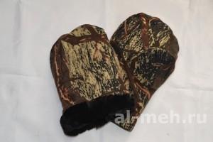 Рукавицы меховые с двойным утеплением (ТУ, ткань Мембрана Алова, цвет - Коричневая Береза