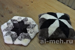 Меховая подушка из натуральной овчины, шестиугольник, квадрат цена 600р.