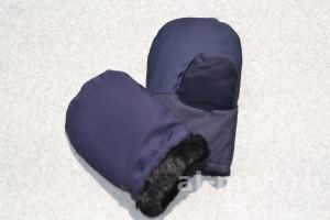 Рукавицы меховые с утеплением (ткань Гретта, ТУ, цвет - Синий)