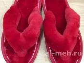 Тапочки-сланцы из натуральной овчины, цвет красный