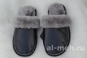 Теплые домашние тапочки из овчины мужские с отворотом верх кожа, цвет черный