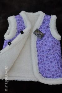 2.Детский жилет из овечьей шерсти, крытый курточной тканью