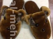 Теплые меховые домашние тапочки Зверята из натуральной овчины
