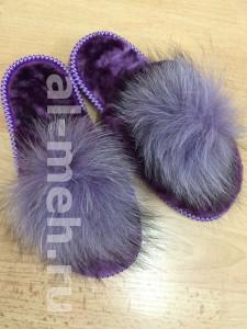 Домашние меховые тапочки с помпоном без страз, цвет -фиолетовый