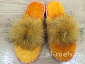 Домашние меховые тапочки с помпоном без страз, цвет - оранжевый